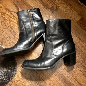 Black leather ankle zip boots